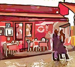 Art: Paris Strollers in the Rain near Chez la Mere Catherine by Artist Joan Hall Johnston