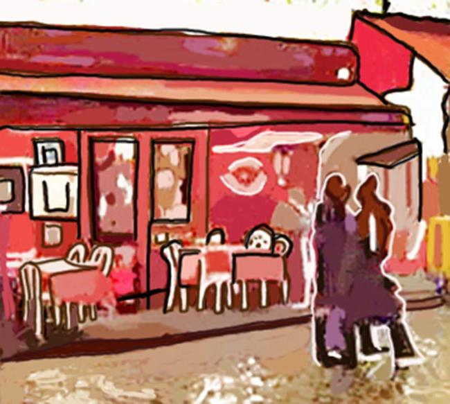 Art: Paris Strollers in the Rain near Chez la Mere Catherine by Artist Joan Hall Johnston