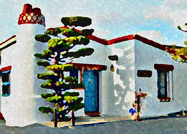 Art: Ole Hanson Bungalow in San Clemente by Artist Joan Hall Johnston