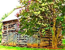 Art: Restored 1800s Barn at Charlotte Museum of History by Artist Joan Hall Johnston