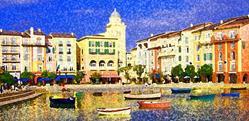 Art: View at the Portofino Hotel Orlando #1 by Artist Joan Hall Johnston