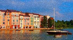 Art: View at the Portofino Hotel Orlando #2 by Artist Joan Hall Johnston
