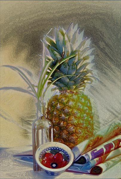 Art: Still Life with Pineapple by Artist Carolyn Schiffhouer