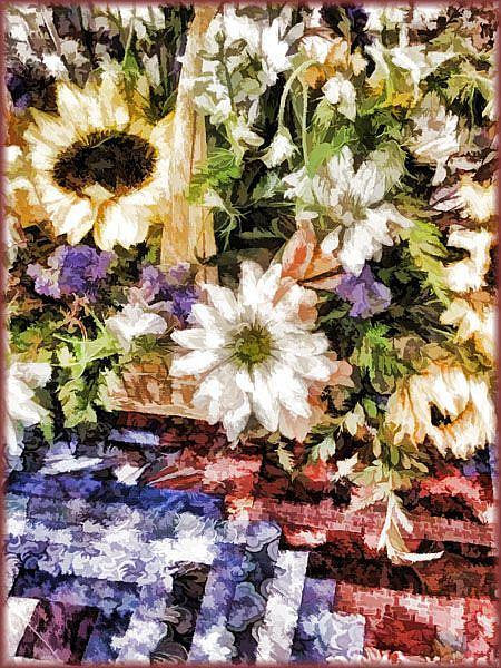 Art: Sunflower Basket by Artist Carolyn Schiffhouer