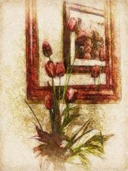 Art: Barb's Tulips by Artist Carolyn Schiffhouer