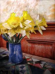 Art: Daffodils in a Bunch by Artist Carolyn Schiffhouer