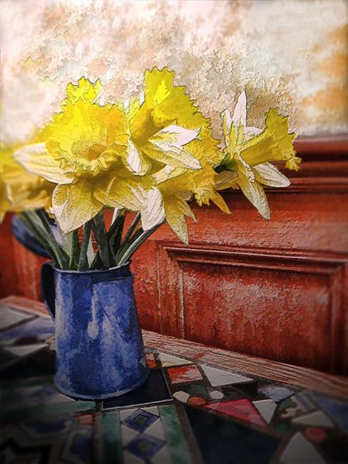 Art: Daffodils in a Bunch by Artist Carolyn Schiffhouer