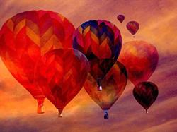 Art: Balloons in Sunset by Artist Carolyn Schiffhouer