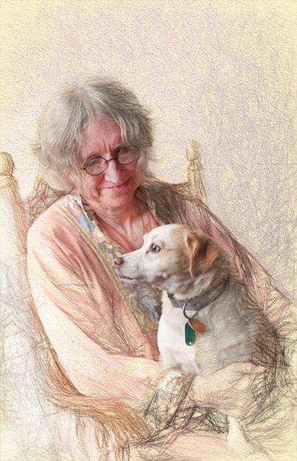 Art: The Artist and her Dog by Artist Carolyn Schiffhouer
