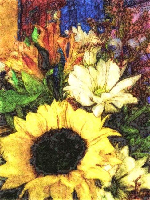 Art: Happiest Sunflower by Artist Carolyn Schiffhouer
