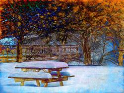 Art: Winter Picnic by Artist Carolyn Schiffhouer