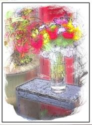 Art: Mixed Floral Bouquet by Artist Carolyn Schiffhouer