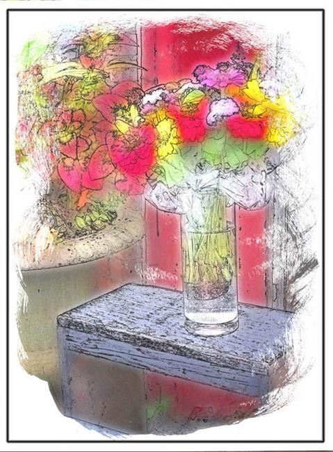 Art: Mixed Floral Bouquet by Artist Carolyn Schiffhouer
