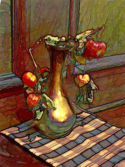 Art: The Gold  Vase by Artist Carolyn Schiffhouer