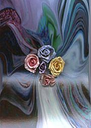 Art: Roses and Swirls by Artist Carolyn Schiffhouer