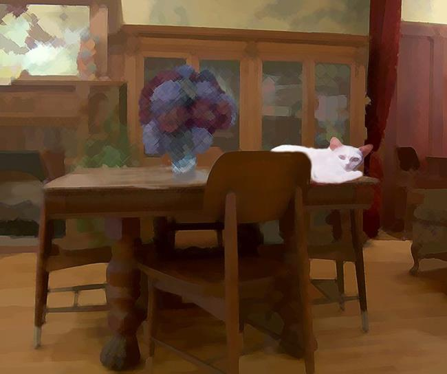Art: Cat on the Coffee House Table by Artist Carolyn Schiffhouer