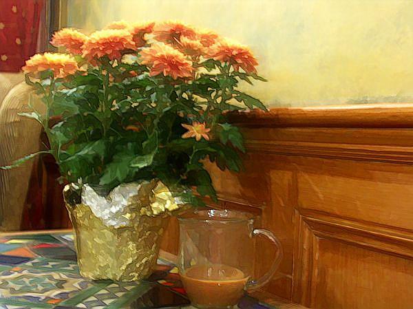 Art: Coffee House Mums by Artist Carolyn Schiffhouer