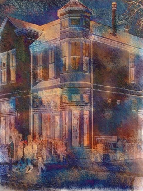 Art: Night Street by Artist Carolyn Schiffhouer