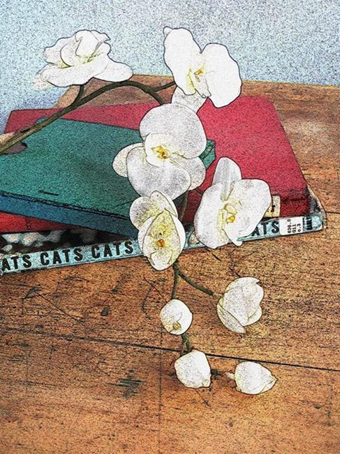 Art: Orchid and Books by Artist Carolyn Schiffhouer
