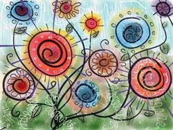 Art: Funky Flowers by Artist Aimee Marie Wheaton