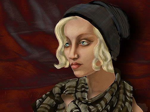 Art: Girl with a Wild Scarf: Ode to Tamara de Lempicka by Artist Alma Lee