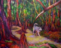 Art: Wolf Dog in Forest by Artist Virginia Ann Zuelsdorf
