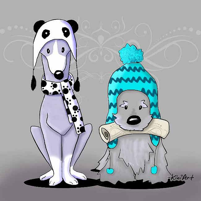 Art: Panda Lover and Paper Boy by Artist KiniArt
