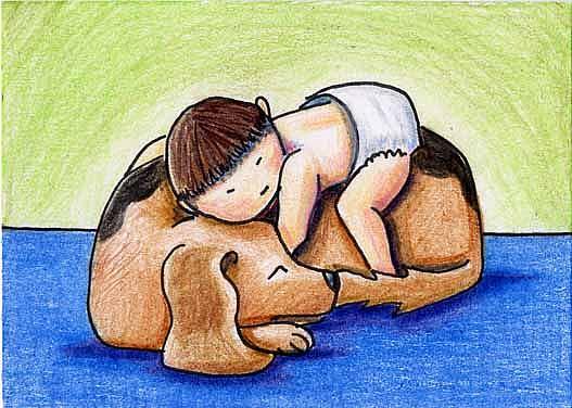 Art: When All Else Fails... Hug Your Dog by Artist KiniArt