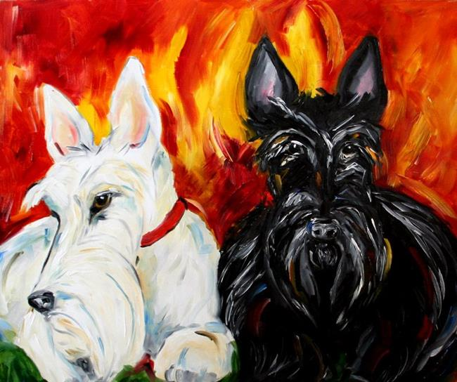 Art: Black and White by the Fire by Artist Laurie Justus Pace