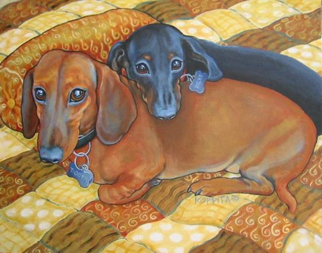 Art: Tigger and Riley by Artist Rebecca Stringer Korpita
