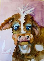 Art: Sad Cow by Artist Delilah Smith