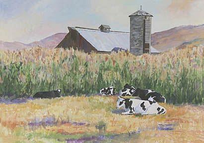 Art: Cows In The Corn by Artist Carol Thompson