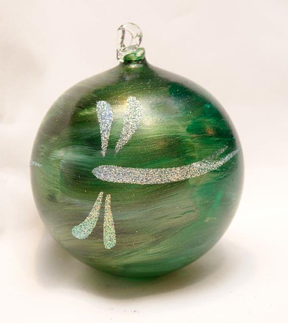 Art: 2012 Dragonfly Ball Green Marble # 9 of 24 by Artist Rebecca M Ronesi-Gutierrez