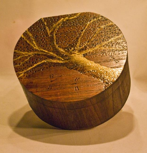 Art Wooden Dragonfly Box Circle Leaning Willow Tree By Artist Rebecca M Ronesi Gutierrez