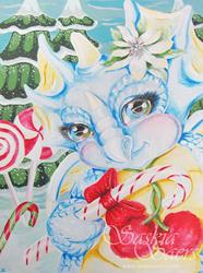 Art: Christmas Candy Dragon by Artist Saskia Franken-Saers