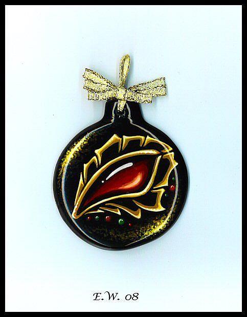 Art: Emerald & Ruby Jeweled Dragon Eye Ornament by Artist Elaina Wagner