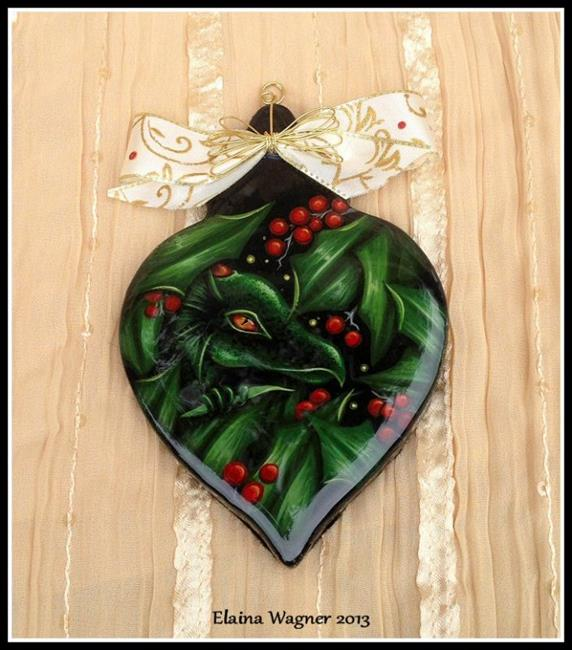 Art: Holly Dragon Ornament by Artist Elaina Wagner