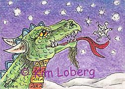 Art: 2012 Snowflake Dragon - SOLD by Artist Kim Loberg