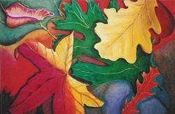 Art: SOLD - Leaves and Pavement  II by Artist Shawn Marie Hardy