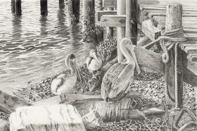 Art: Pelicans of Shem Creek by Artist Robin Cruz McGee