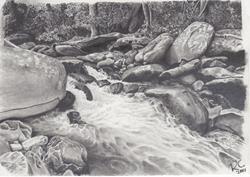 Art: Whale Rock Rapids by Artist Robin Cruz McGee