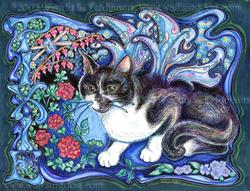 Art: In Memory of  Pixie Poop Cat Gillingham by Artist Wendy L Feldmann