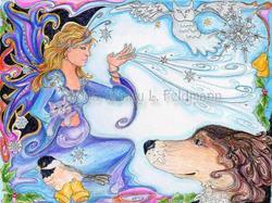 Art: Bosco and the Yule Faerie by Artist Wendy L Feldmann