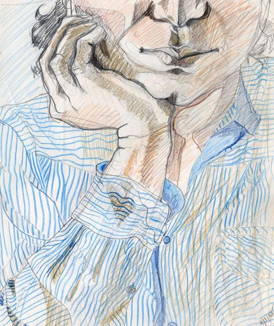 Art: Self-portrait with striped shirt by Artist Muriel Areno