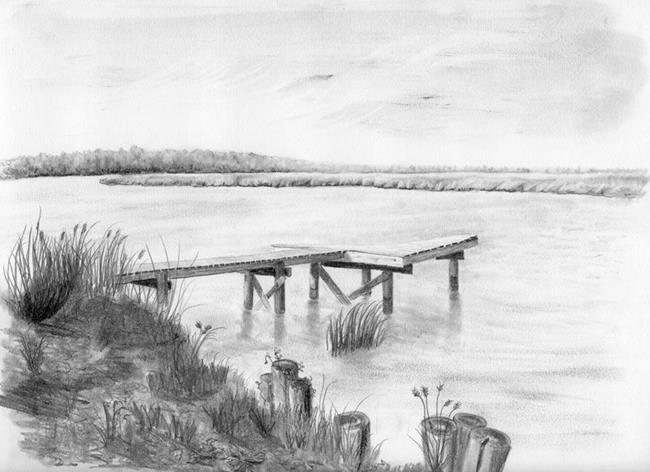 Pump House Dock II - by Robin Cruz McGee from drawings studies Art