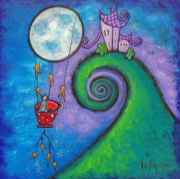 Art: Little Red Tea Cup In Flight by Artist Juli Cady Ryan