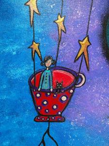 Detail Image for art Little Red Tea Cup In Flight