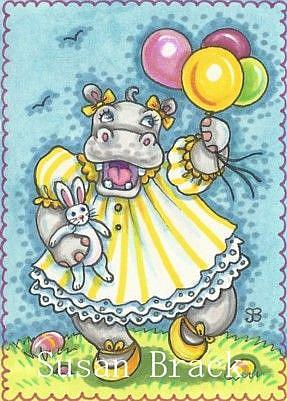 Art: SPRING MAKES HAPPY HIPPOS by Artist Susan Brack