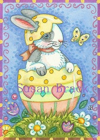 Art: WHICH CAME FIRST THE HOP OR THE RABBIT? by Artist Susan Brack