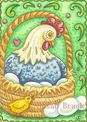 Art: CHICKEN IN A BASKET by Artist Susan Brack